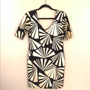 BEBE Gold and Black Geometric Dress